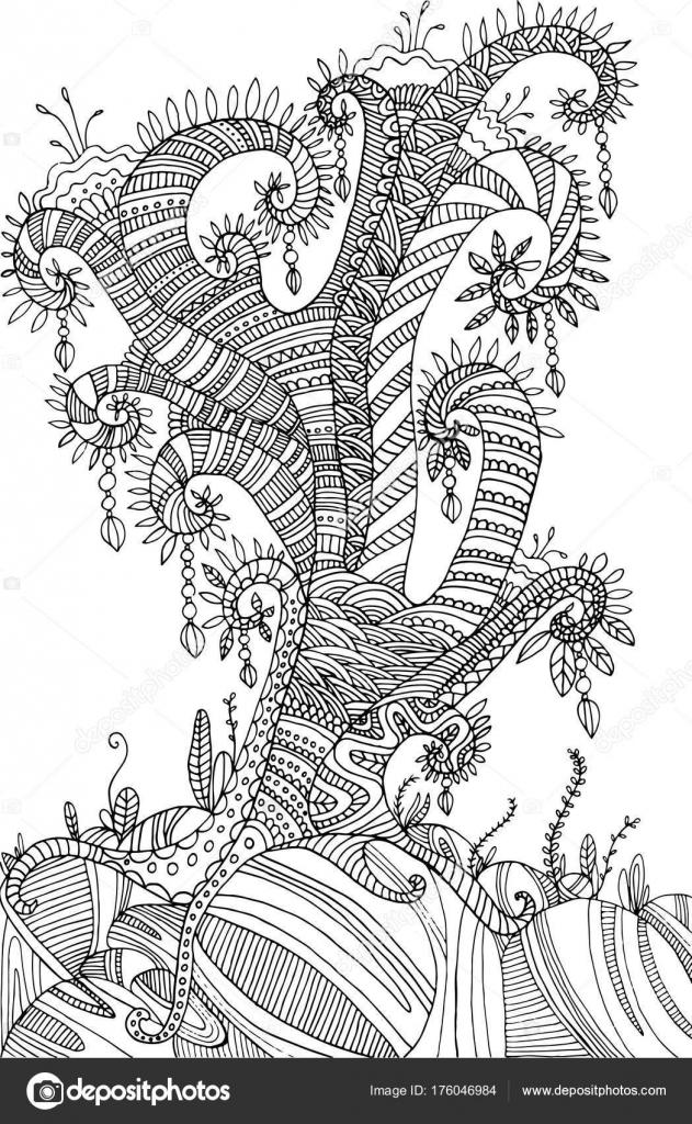 Malvorlagen mit surrealen Landschaftsbaum — Stockvektor ...