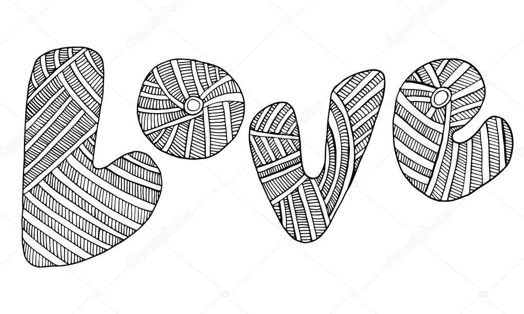 Doodle kreative typografische Grafiken mit einer Farbseite mit der ...