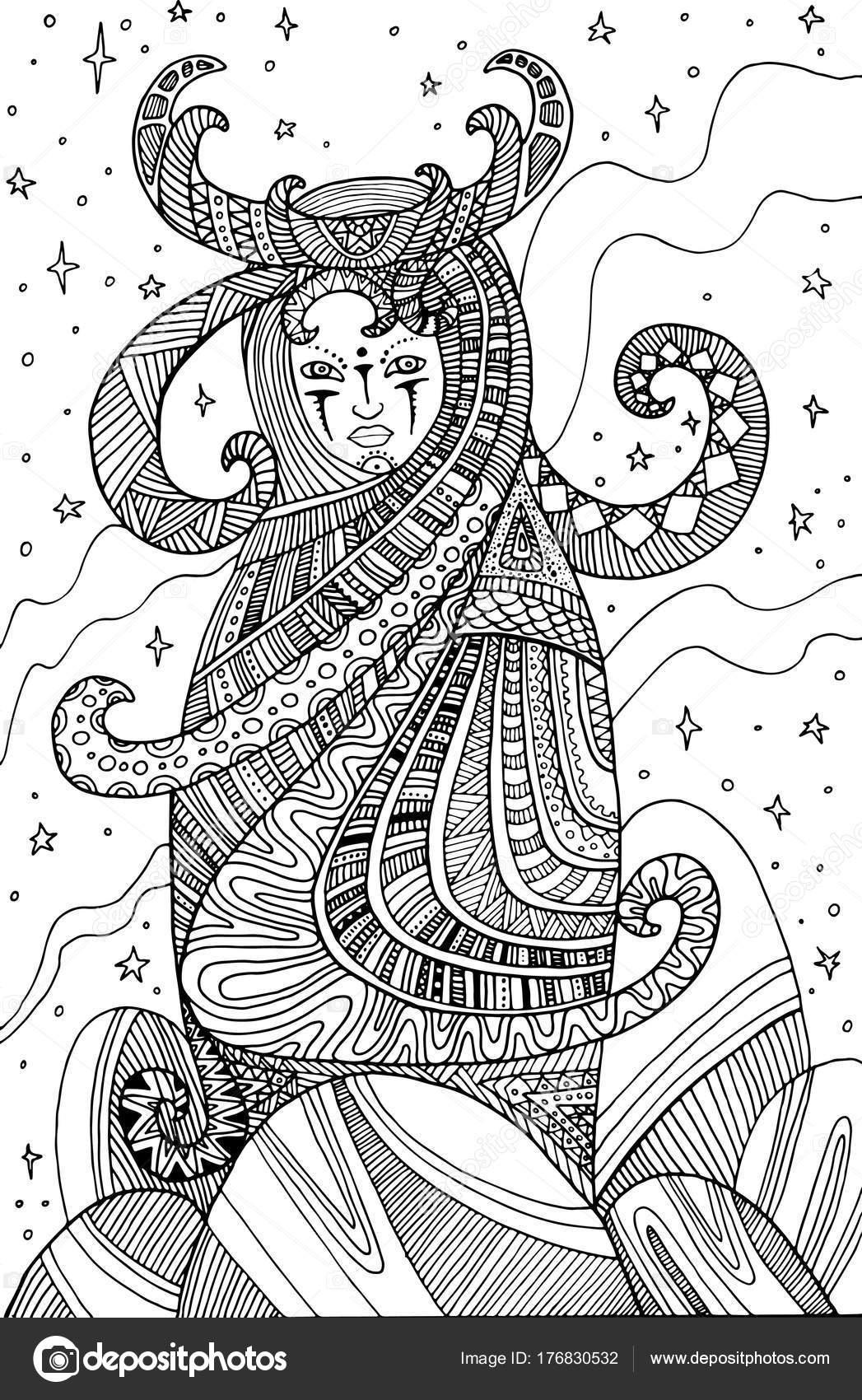 Shaman Femme Surrealiste Coloriage Pour Enfants Et Adultes Image