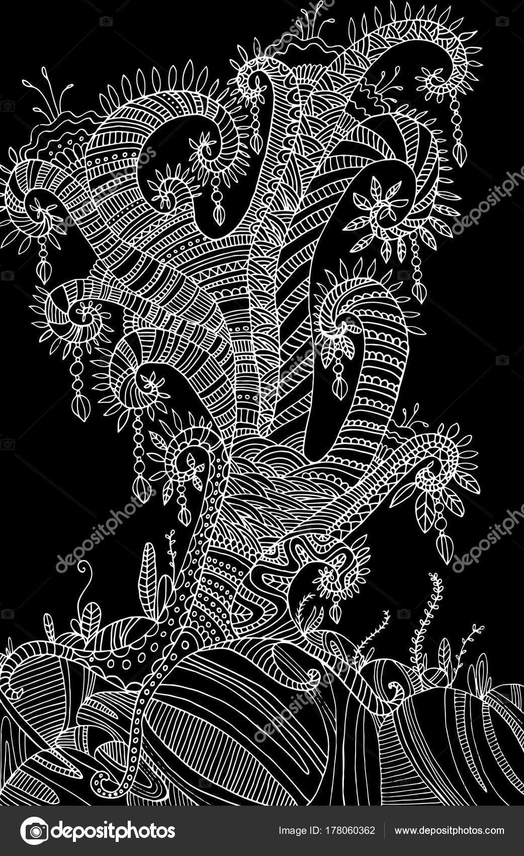Árbol chamánico surrealista de la página para colorear — Archivo ...