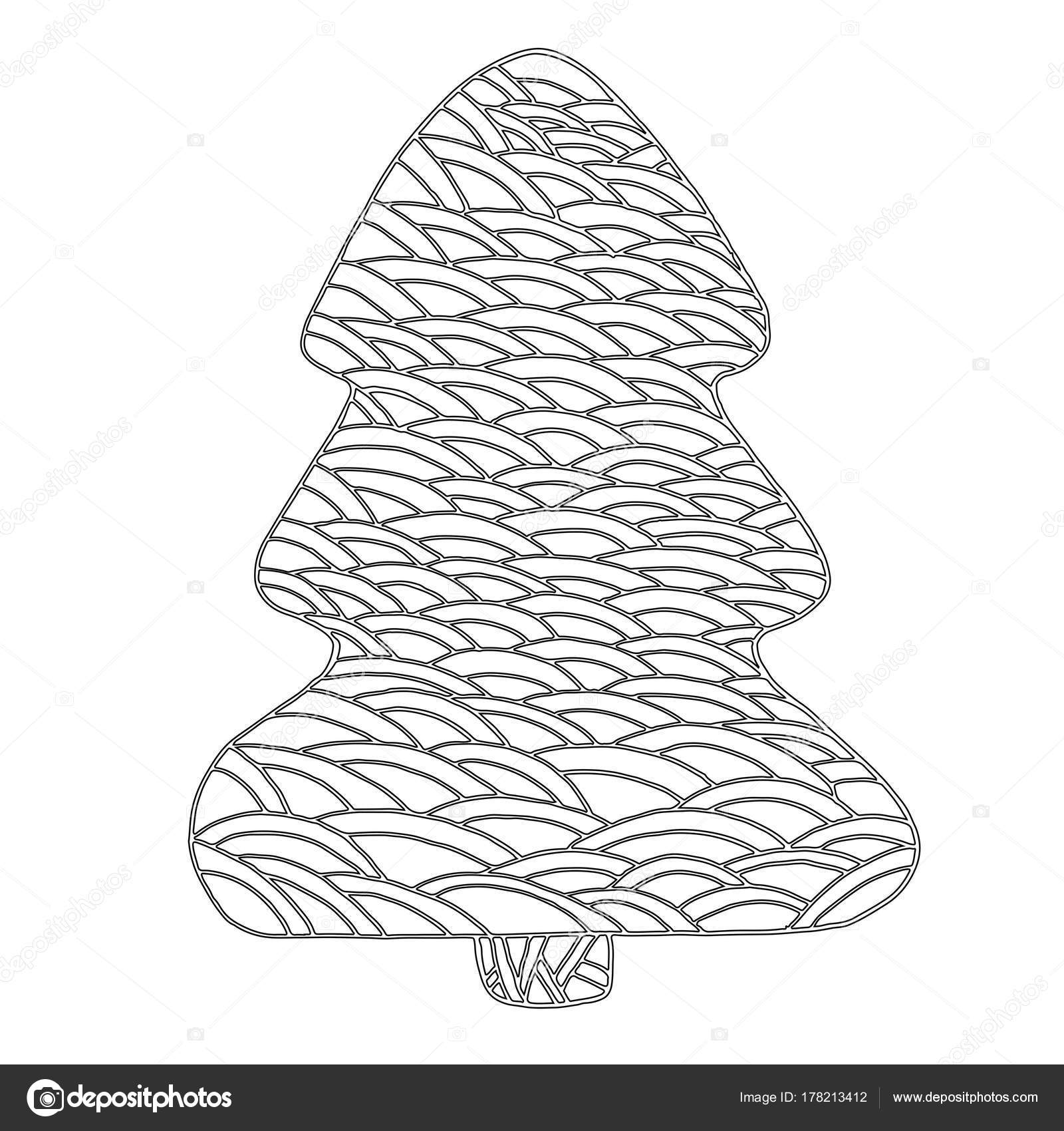 Coloring Page For Children And Adults Decorative Christmas Tree Doodle Isolated On White Background Cartoon Style Vector Hand Drawing Card With Beautiful
