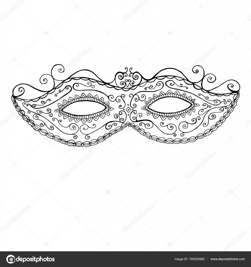Máscara decorativa festiva de Mddi Gras, página para colorear ...