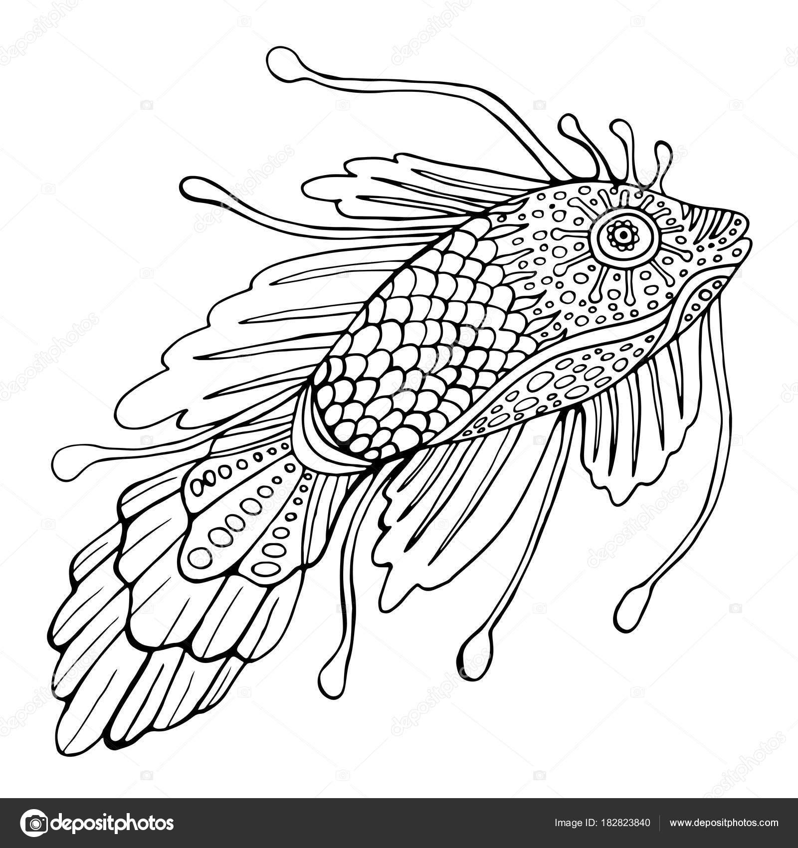 Phantasie Fisch, Malvorlagen für Kinder und Erwachsene — Stockvektor ...
