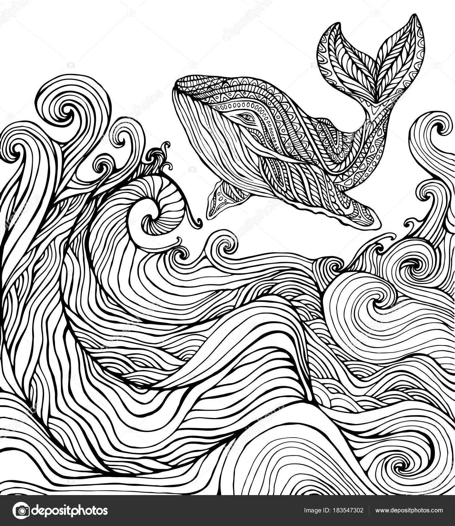 Ballena y océano olas página para colorear — Vector de stock ...
