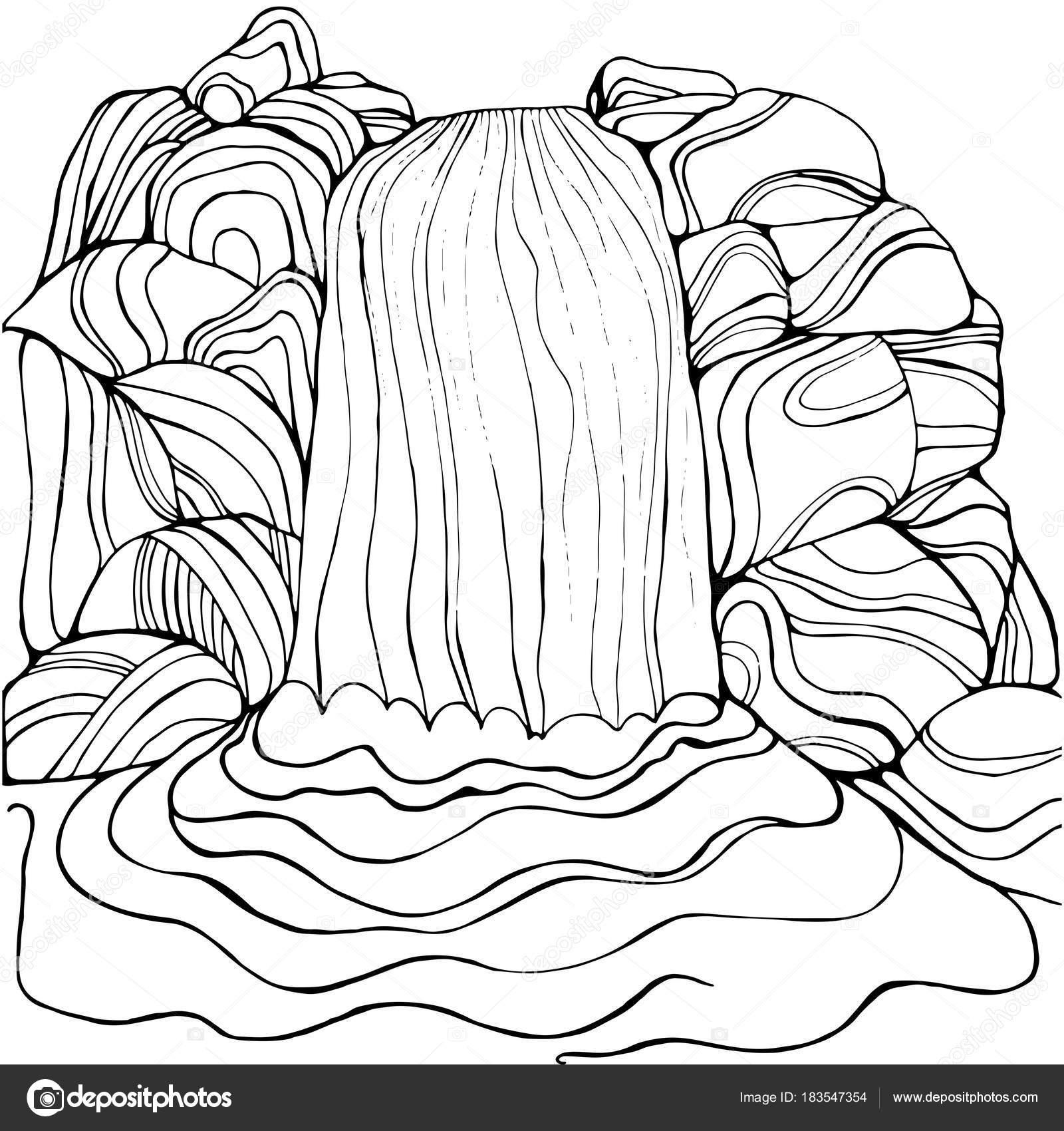 Cascada de página para colorear para niños y adultos — Archivo ...