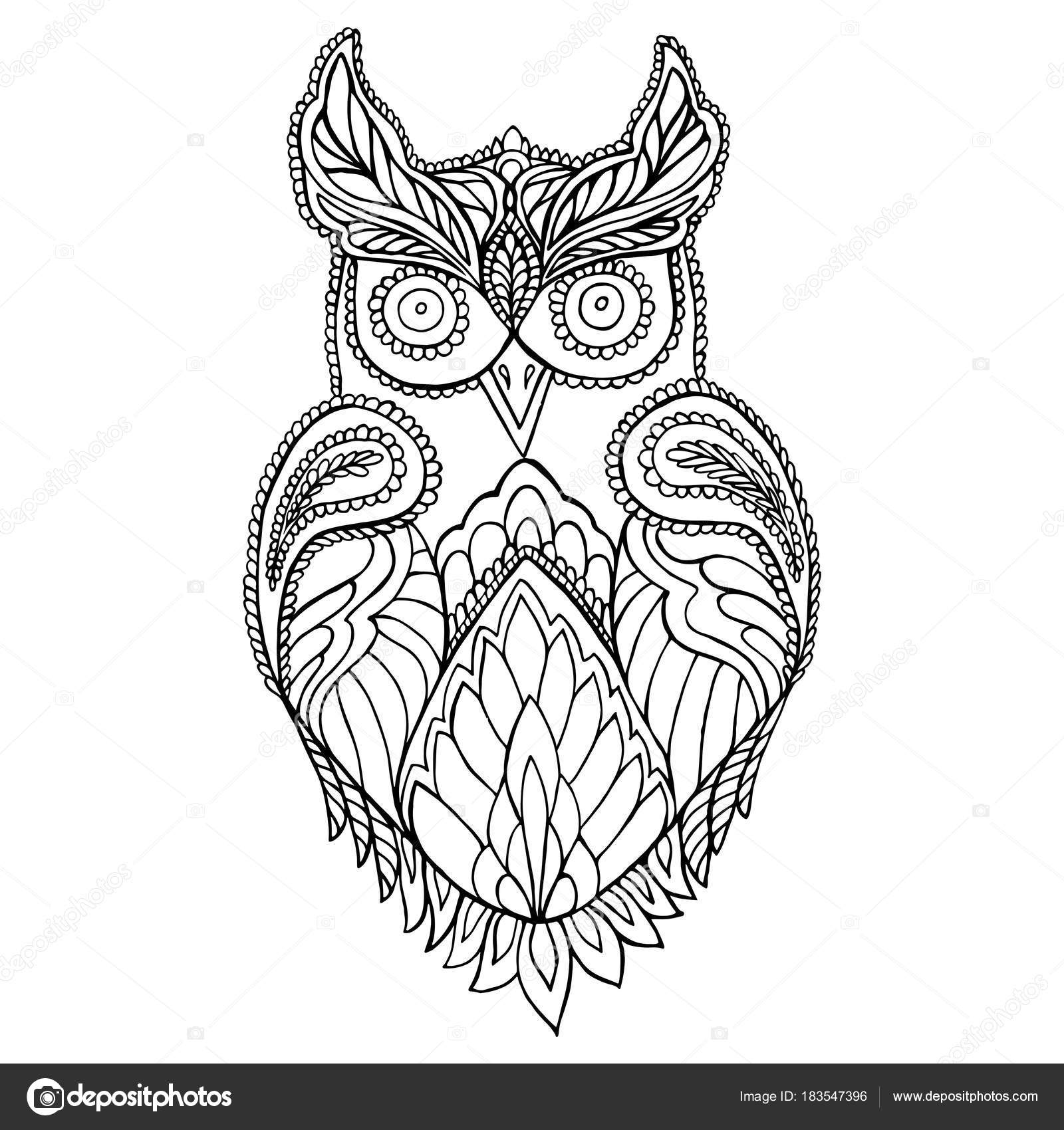Owl coloring page for children and adults. — Stock Vector ...