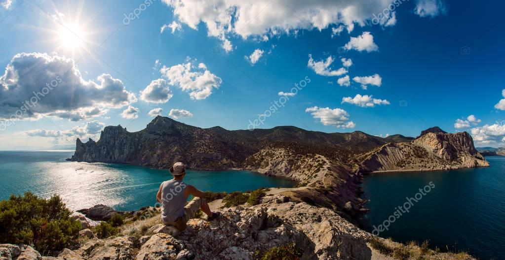 hiker on beauty landscape Crimea background