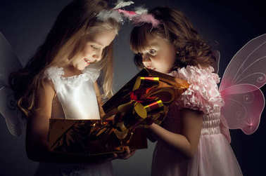 two little girl with gift