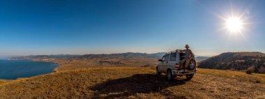 Güzellik doğa manzara, araba konsepti üzerine seyahat