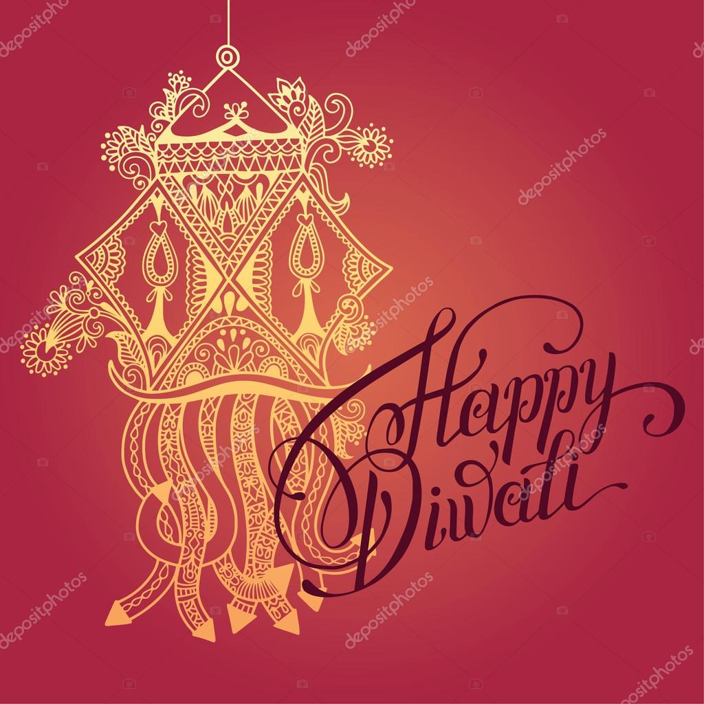Happy diwali greeting card with paisley ornamental candle and ha happy diwali greeting card with paisley ornamental candle and ha stock vector m4hsunfo