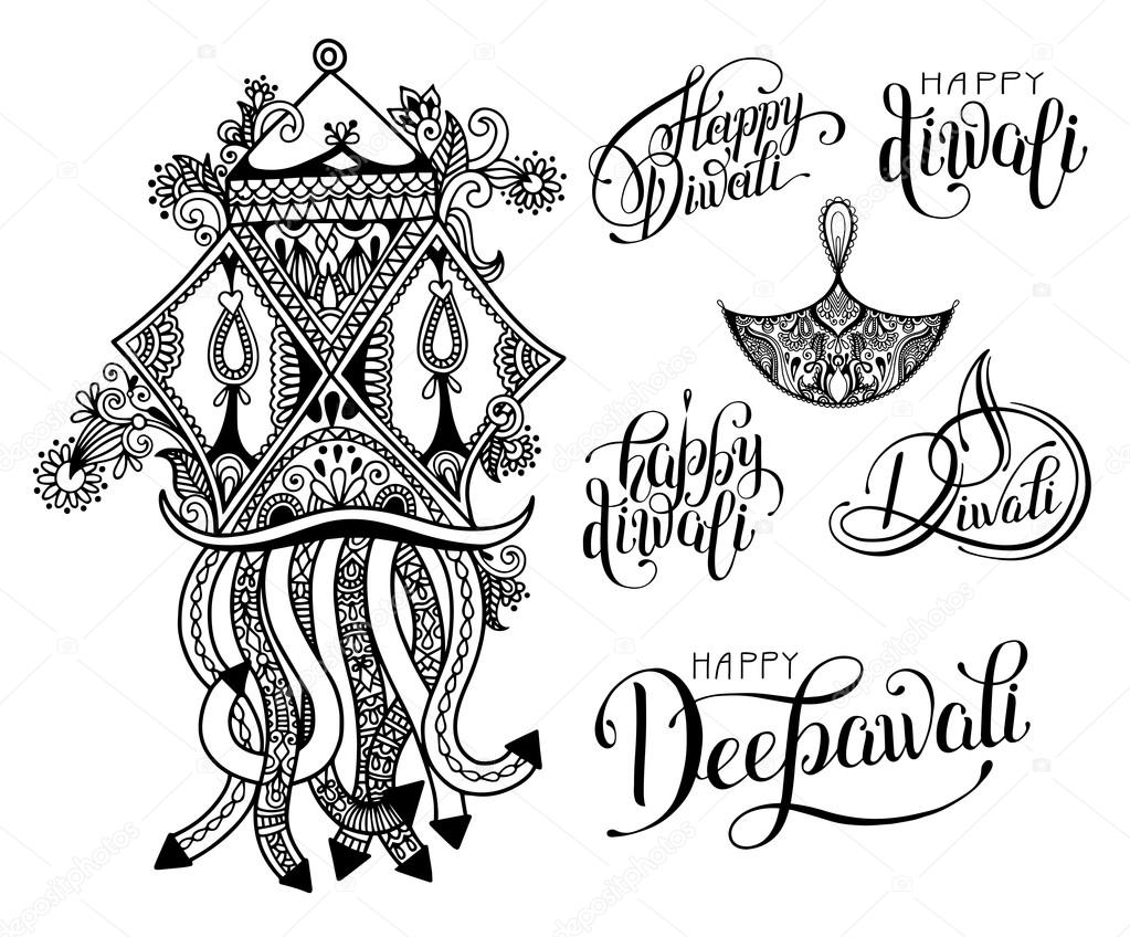 set of black and white hand drawing design element lettering ins ... for Diwali Festival Black And White Images  75sfw