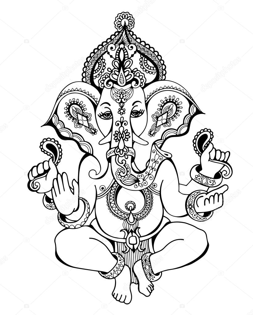 seigneur hindou ganesha orner croquis dessin tatouage yoga image vectorielle karakotsya. Black Bedroom Furniture Sets. Home Design Ideas