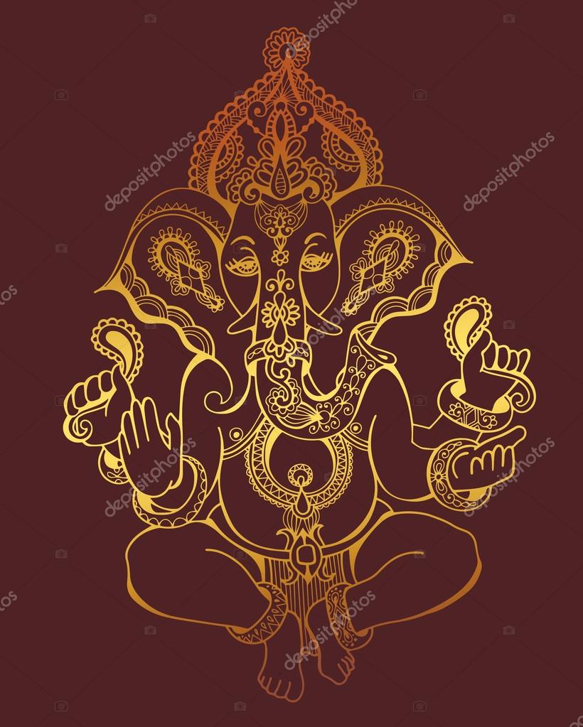 Hinduskie Pana Ganesha Kwiecisty Złoto Szkicu Rysunku Tatuaż Joga