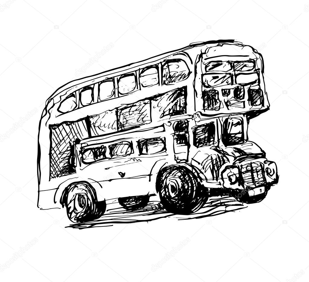 Doodle Black And White Sketch Drawing Of London Symbol Red Bus