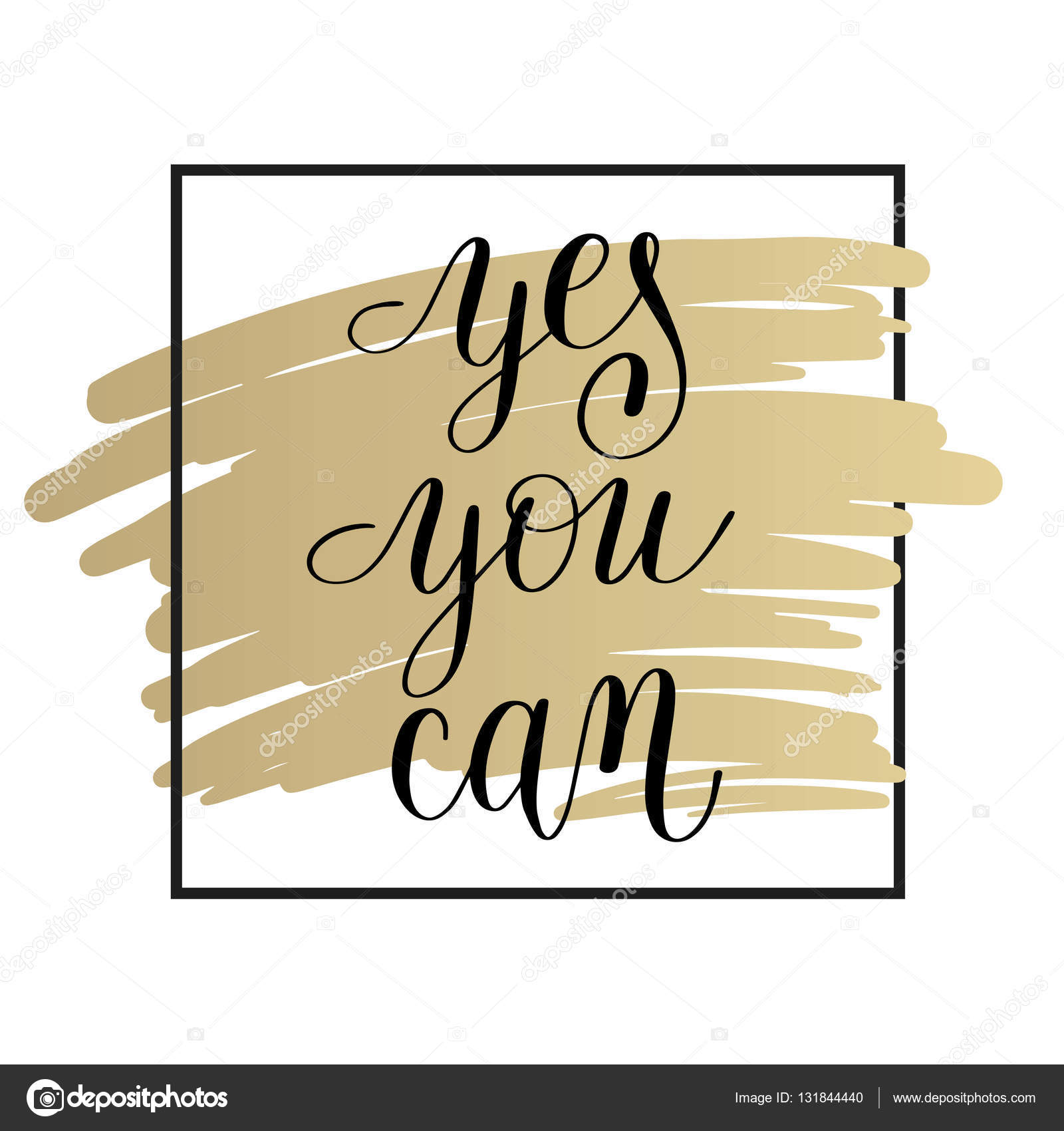 yes you can handwritten lettering positive motivational quote on ...