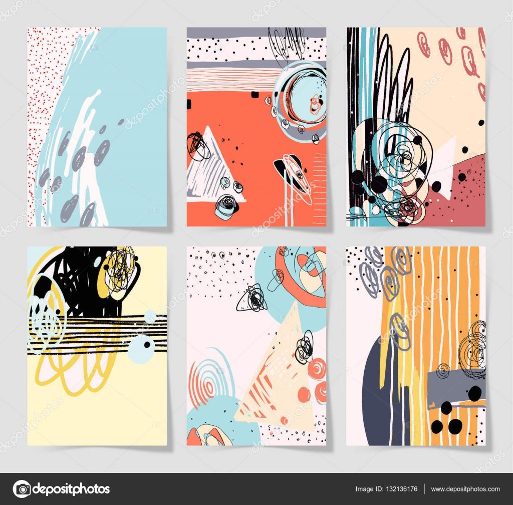 Satz von 6 moderne abstrakte digitale zeitgenössische Malerei im ...