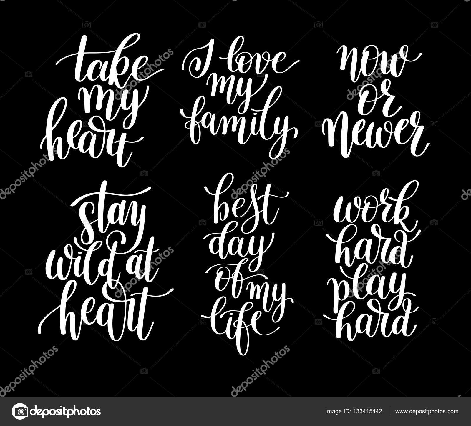 Positive Quotes About Life Set Of 6 Handwritten Lettering Positive Quotes About Life  Stock