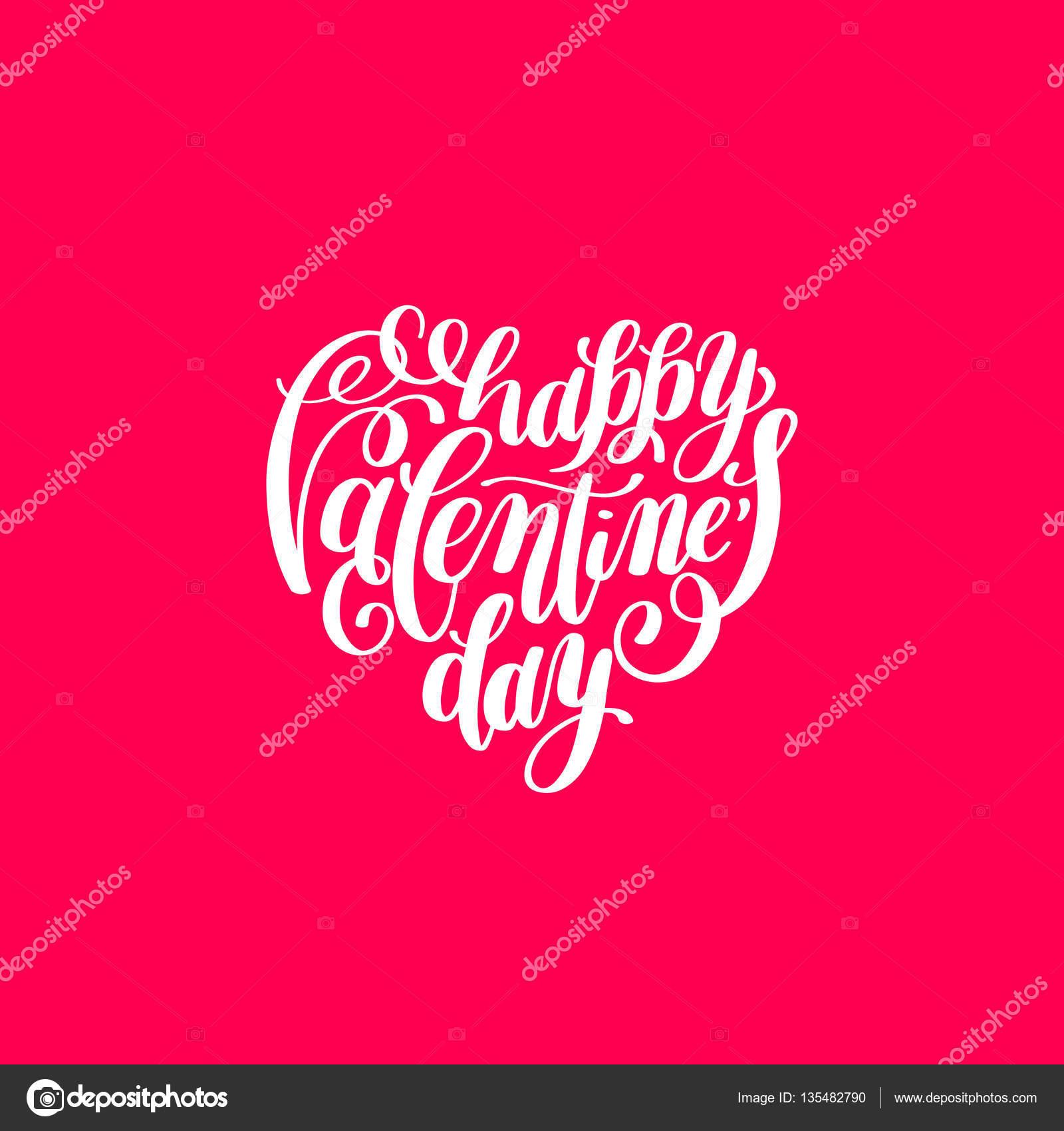 Happy Valentinstag handschriftlich Schriftzug auf Herz-Form-Ferien ...