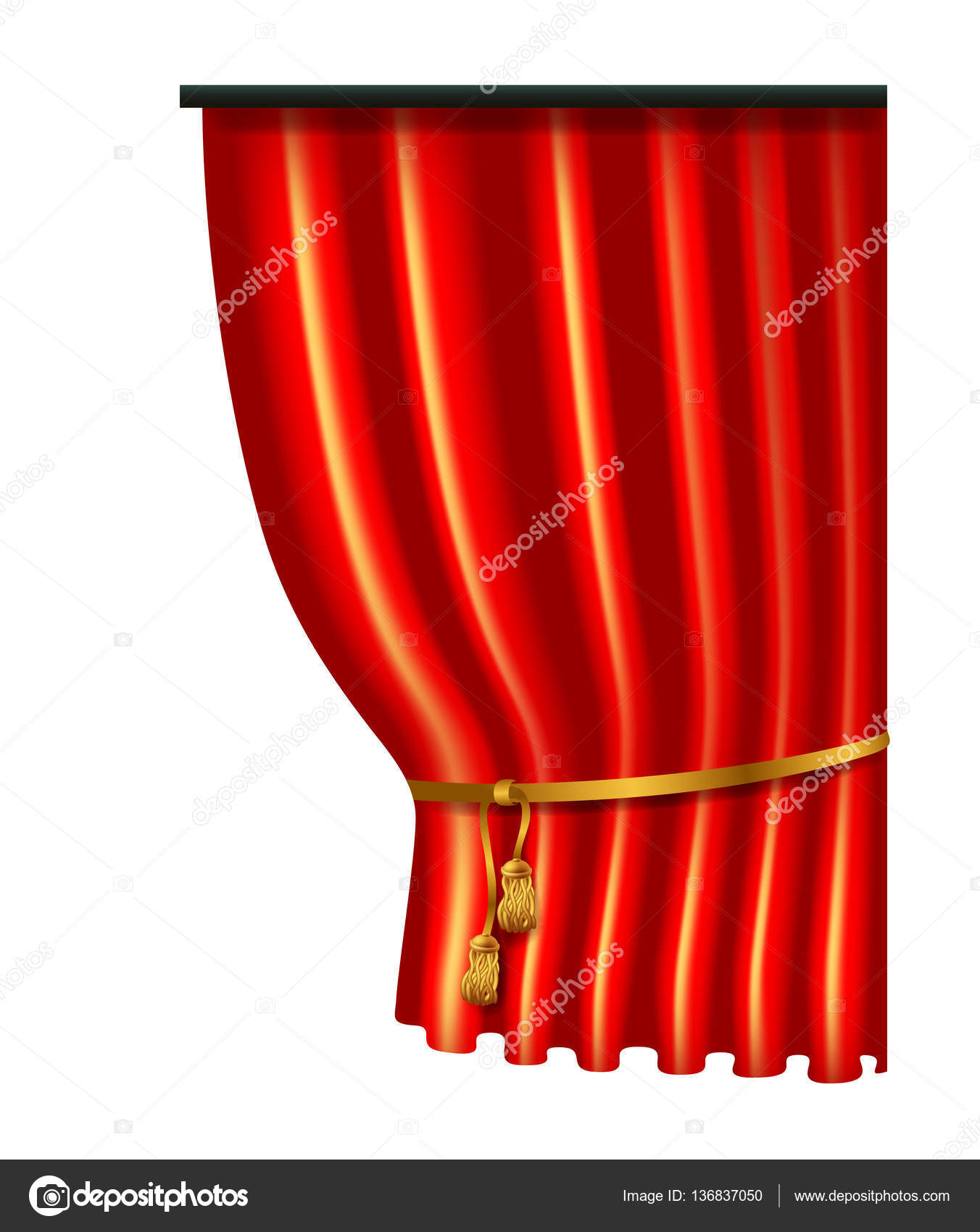 3d rood luxe zijden gordijn realistische interieur velours gordijnen vectorillustratie gesoleerd op wit vector van karakotsya