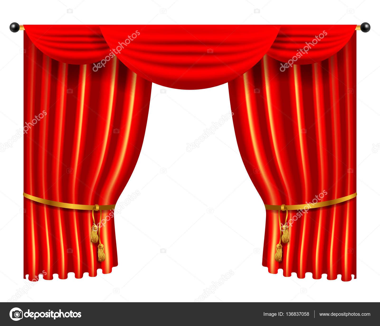 3D rood luxe zijden gordijn, realistische interieur velours ...