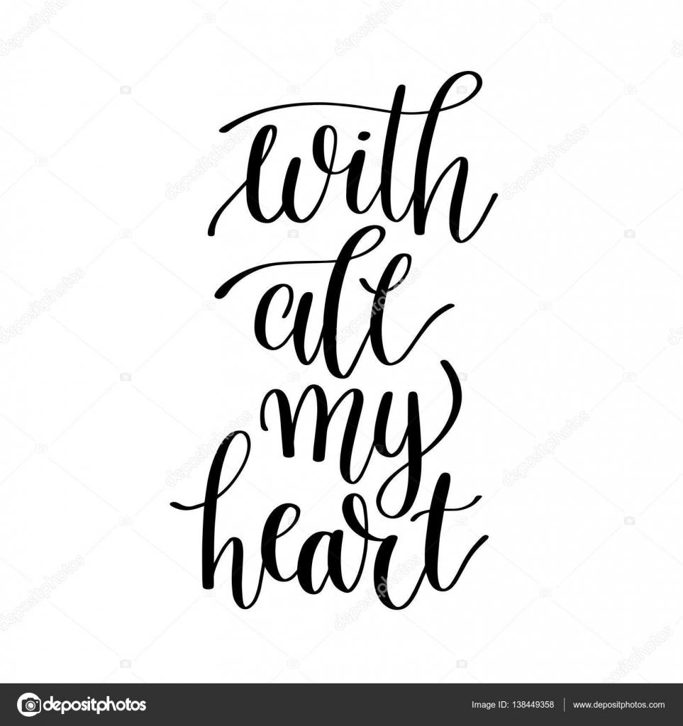 Com A Mão De Coração Preto E Branco Escrito Frase Letras Vetores
