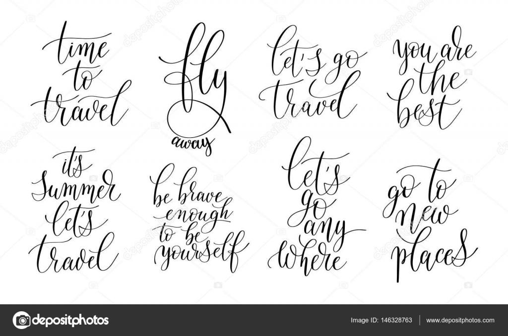Zestaw 8 Odręczny Napis Pozytywne Cytaty O życiu I T Grafika