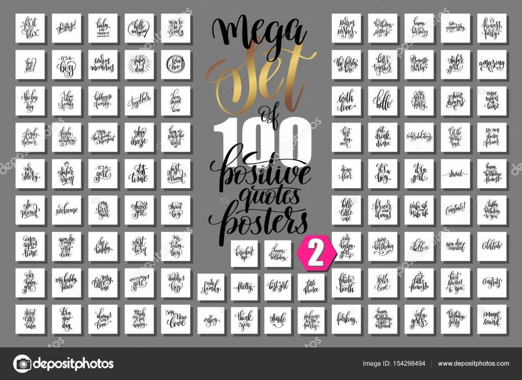 Set Von 100 Positive Zitate Poster über Familie