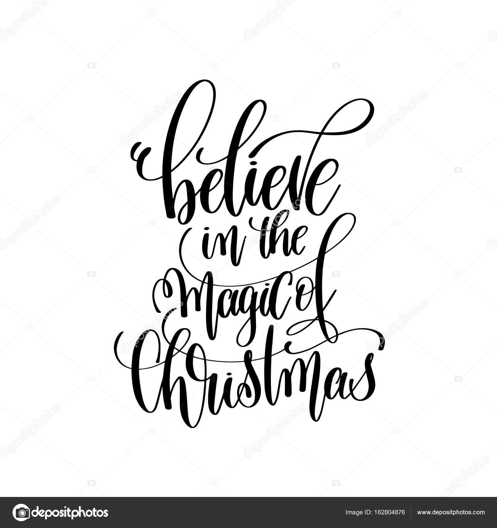 クリスマス手に銘刻文字をレタリングの魔法を信じる ストックベクター
