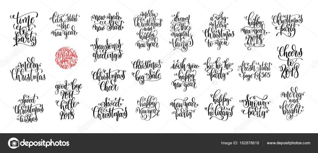 Satz von 25 Hand Schriftzug Weihnachten Zitate Design — Stockvektor ...