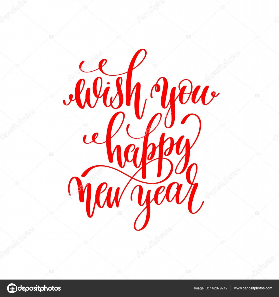 wish you happy new year red hand lettering inscription to christ ...