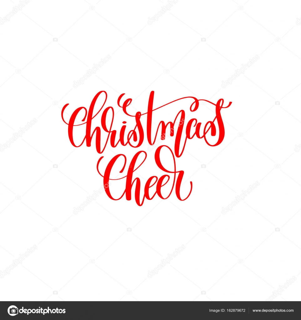 christmas cheer red hand lettering inscription to christmas and ...