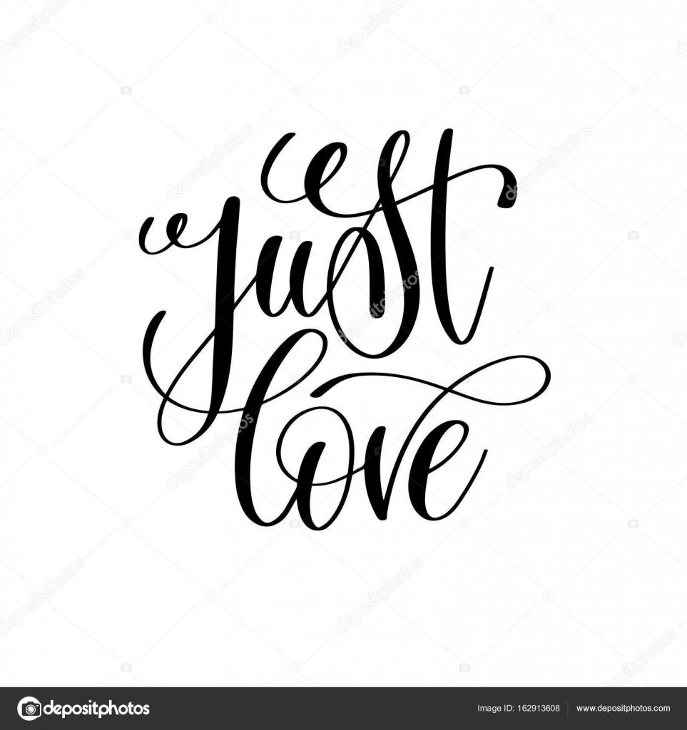 Só A Mão Do Amor Preto E Branco Letras Script Vetor De Stock