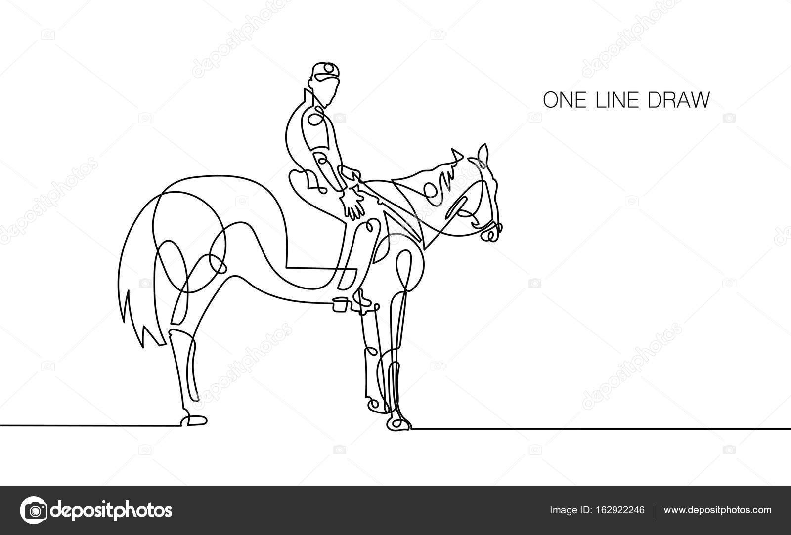 Trendy Continuous One Line Rider On Horseback Drawing Stock Vector