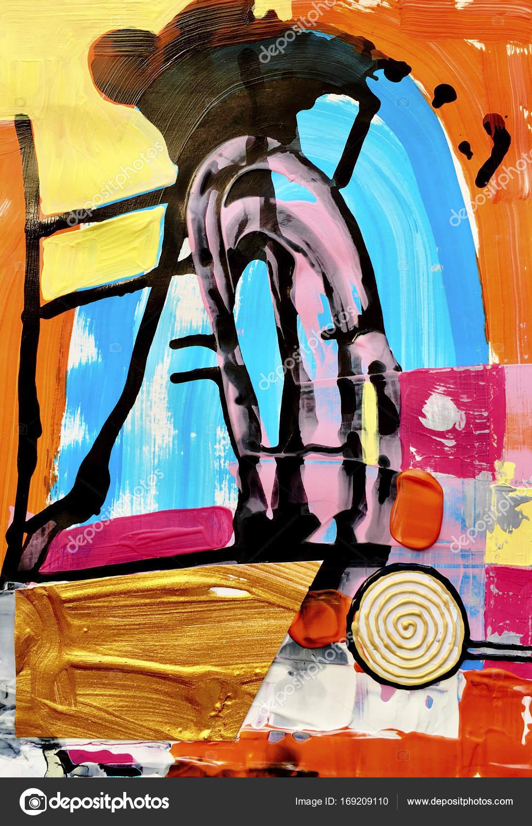 zeitgenössische Kunst abstrakte Malerei, Acryl auf Papier ...