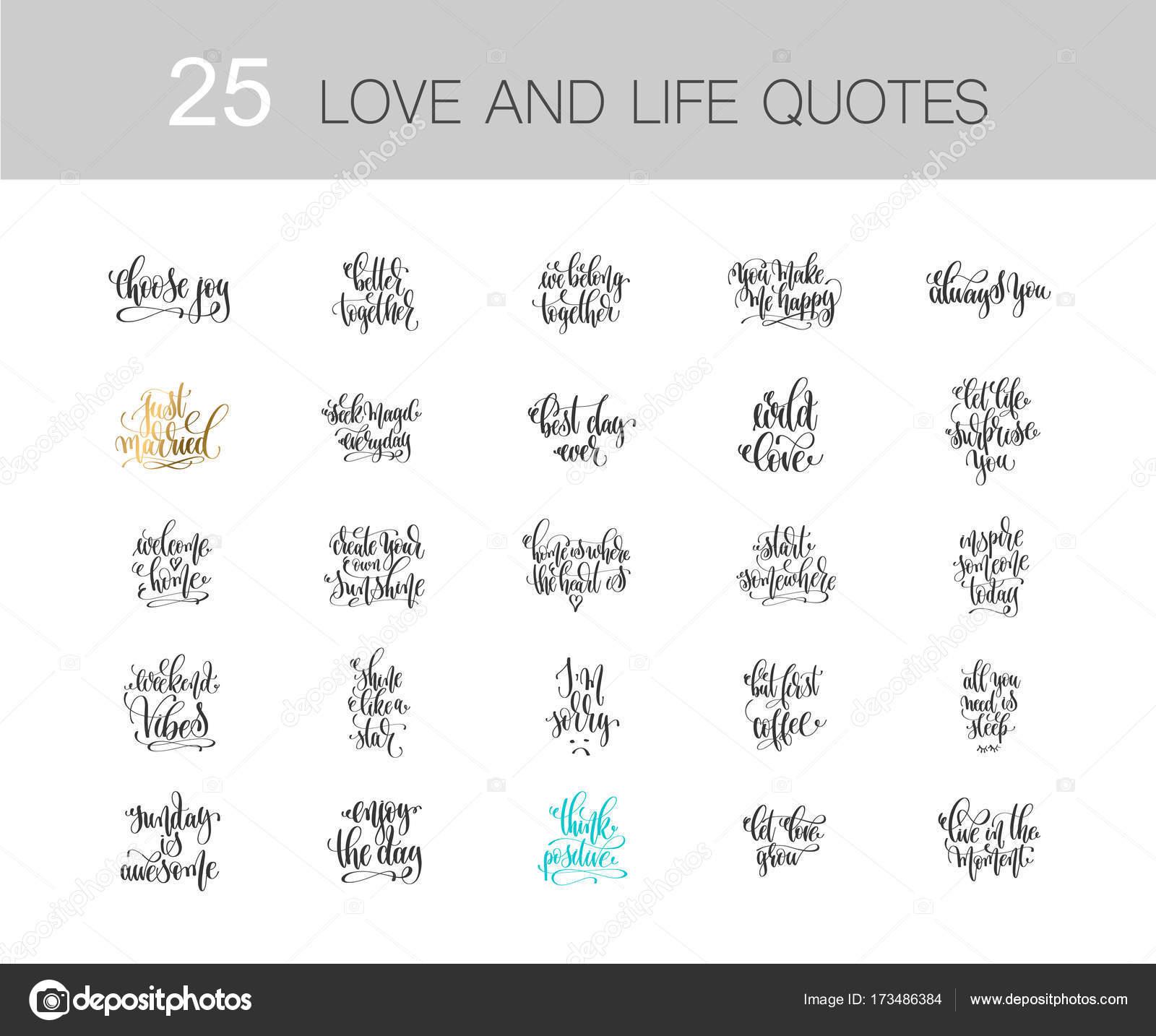Conjunto De 25 Amor Y Frases De Vida Motivacion E Inspiracion Phras