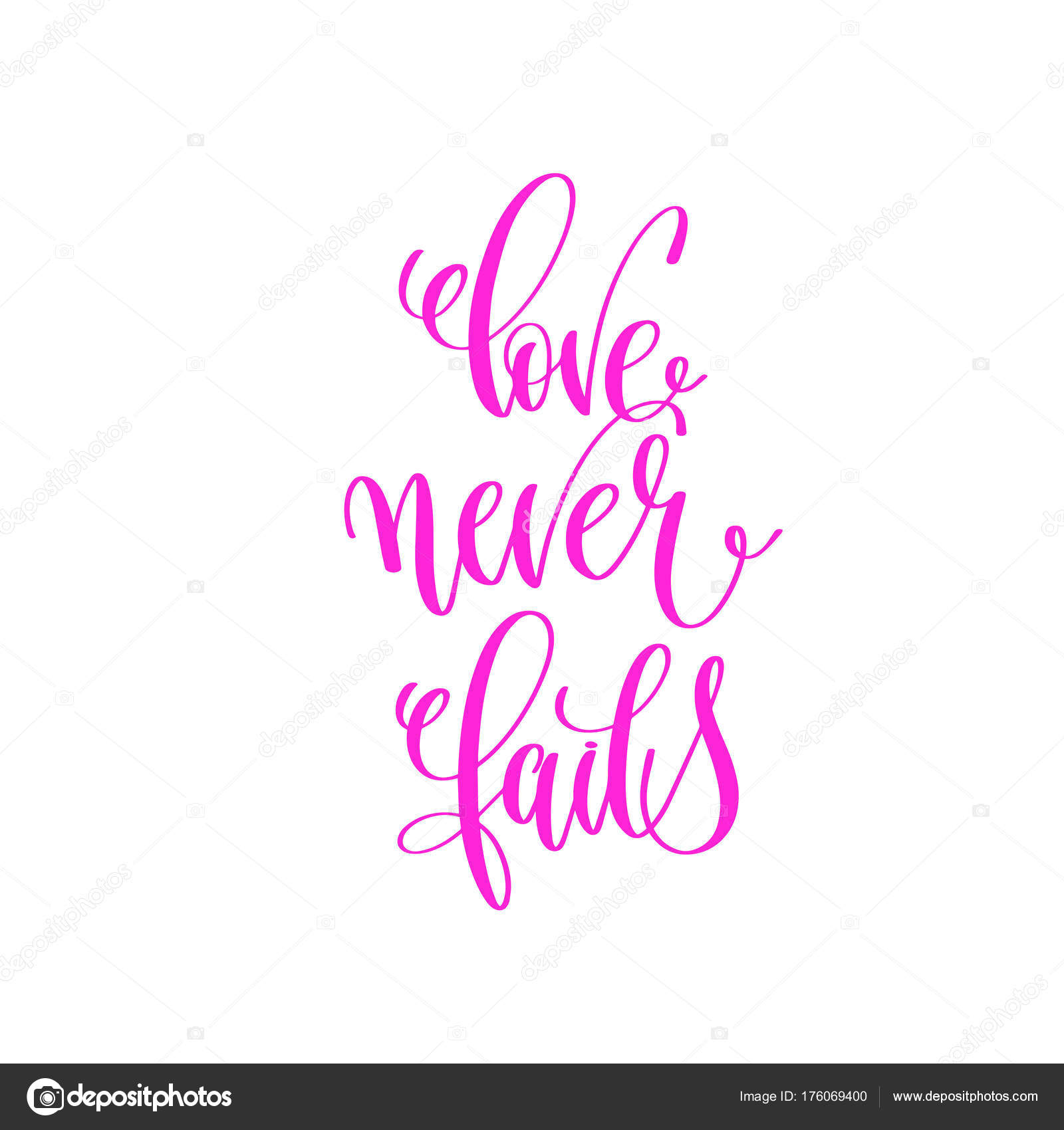 Love Never Fails Quote Love Never Fails  Hand Lettering Calligraphy Quote To Valentine