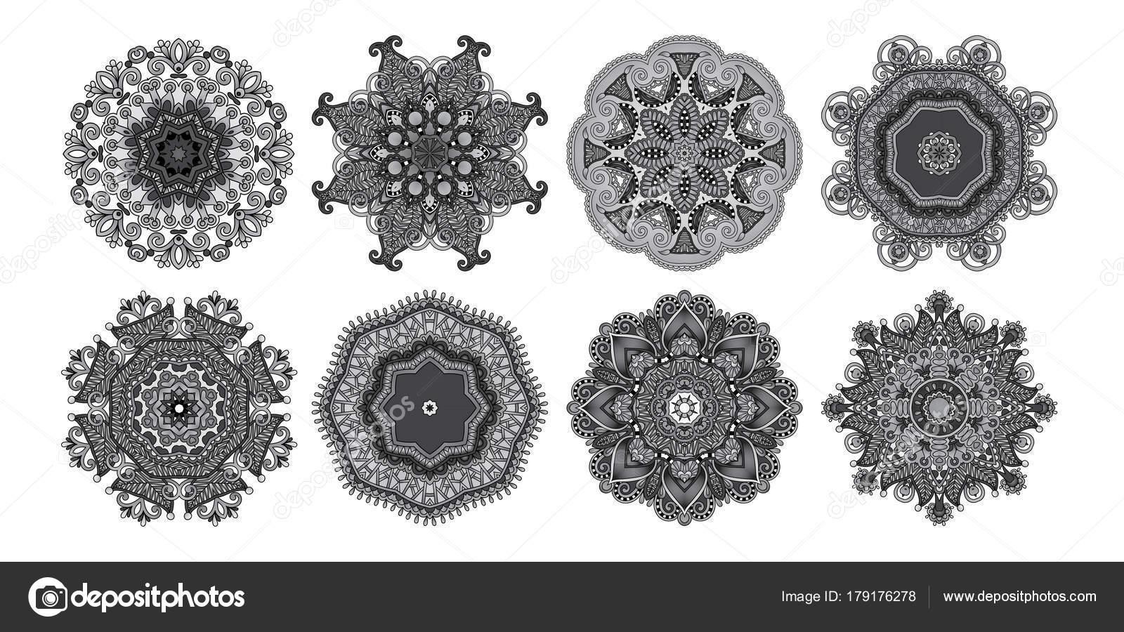 Set de 8 patrones de paisley de círculo al invierno los copos de ...