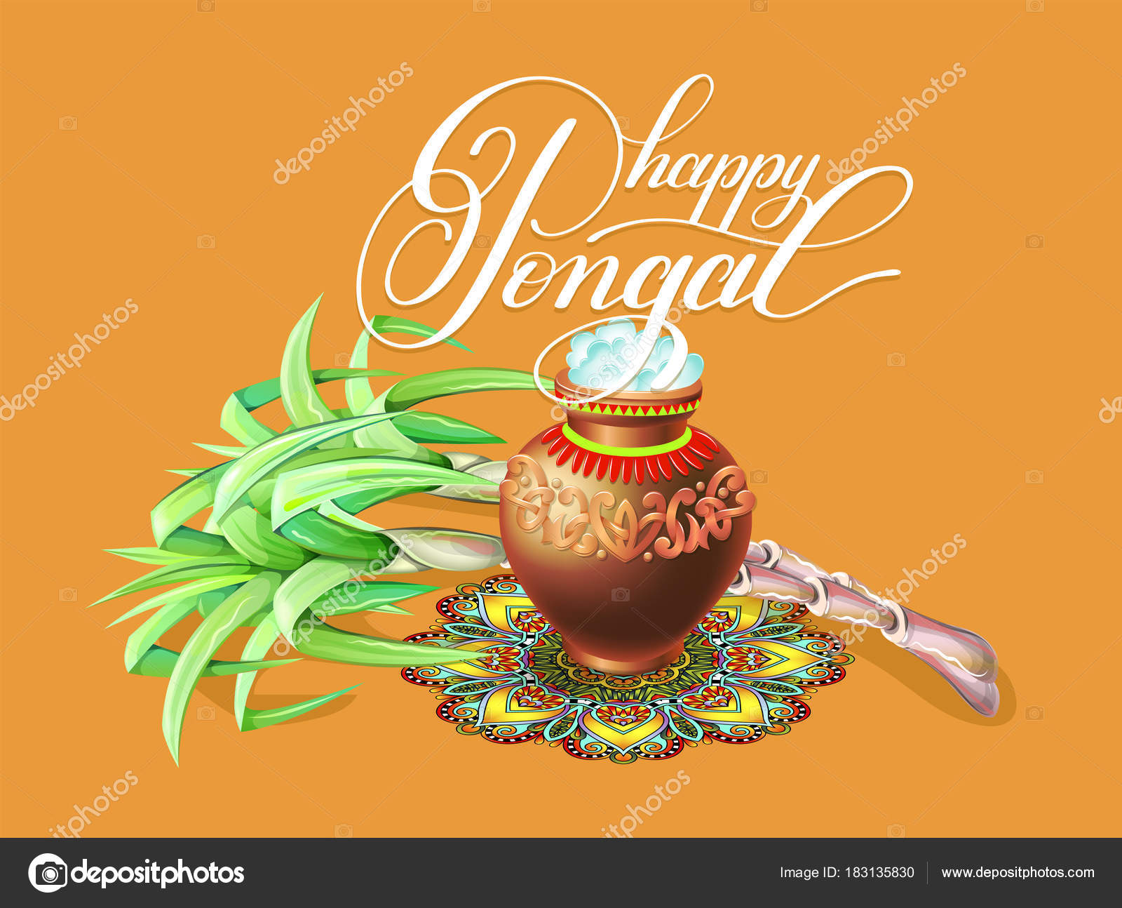 Happy pongal greeting card to south indian winter holiday design happy pongal greeting card to south indian winter holiday design stock vector m4hsunfo