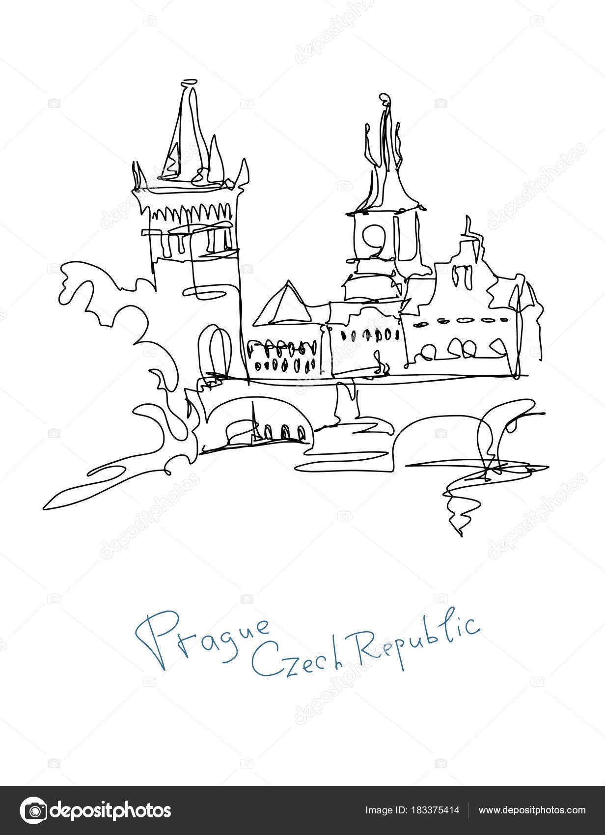 dibujo de línea continua de República Checa Praga — Vector de stock ...
