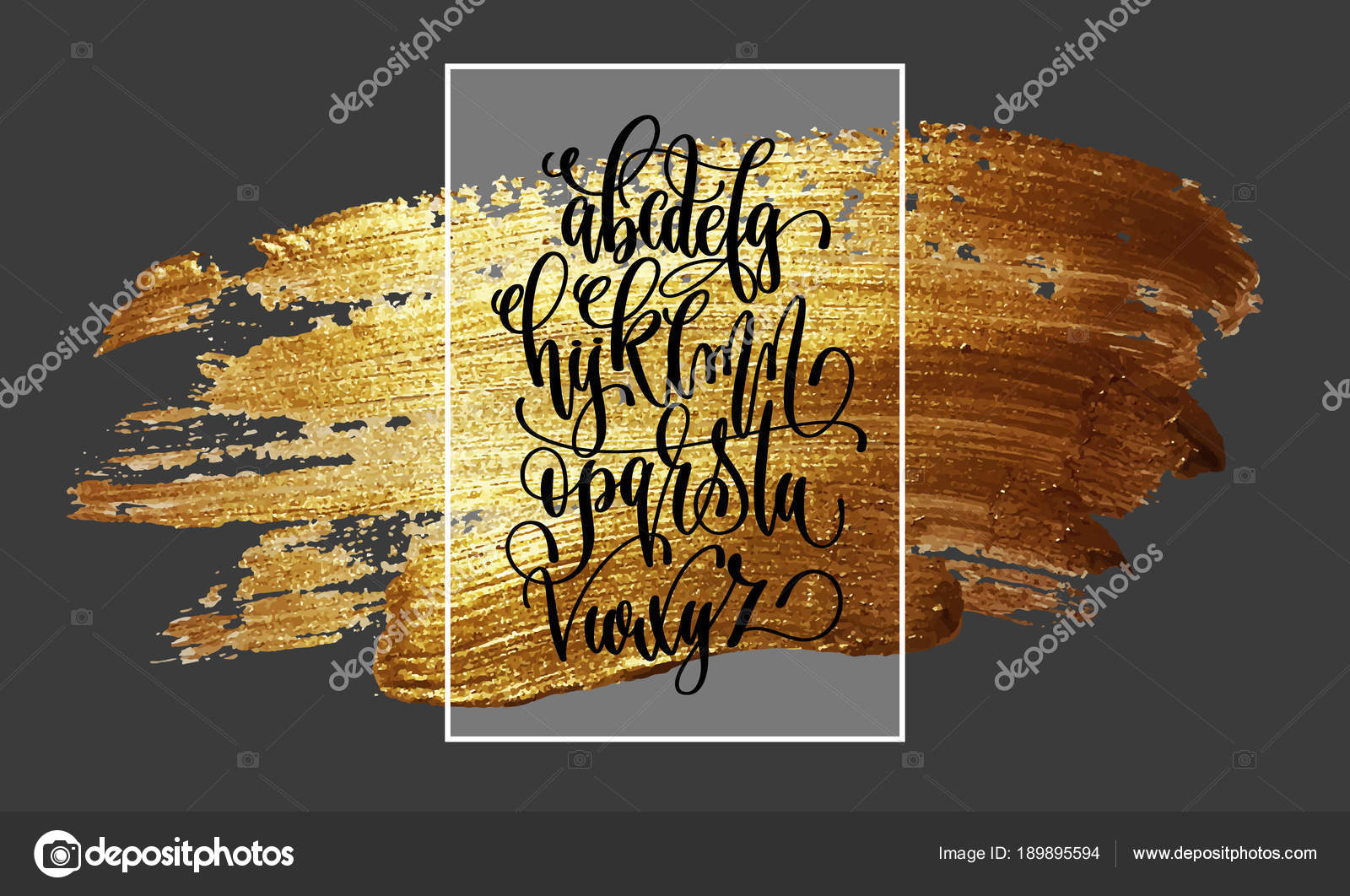 Hand lettering alphabet design on golden brush stroke painting hand lettering alphabet design on golden brush stroke painting background handwritten script modern calligraphy cursive font vector illustration vector altavistaventures Gallery