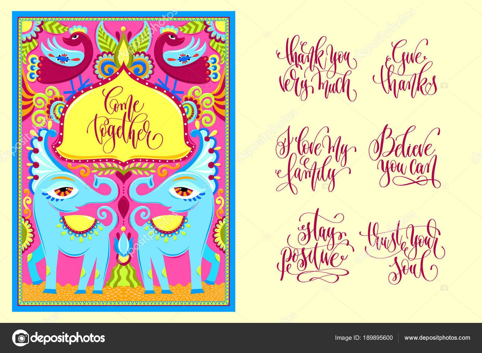 Postcard Creator - indische Rahmen mit Vögel, Elefanten und Blume ...