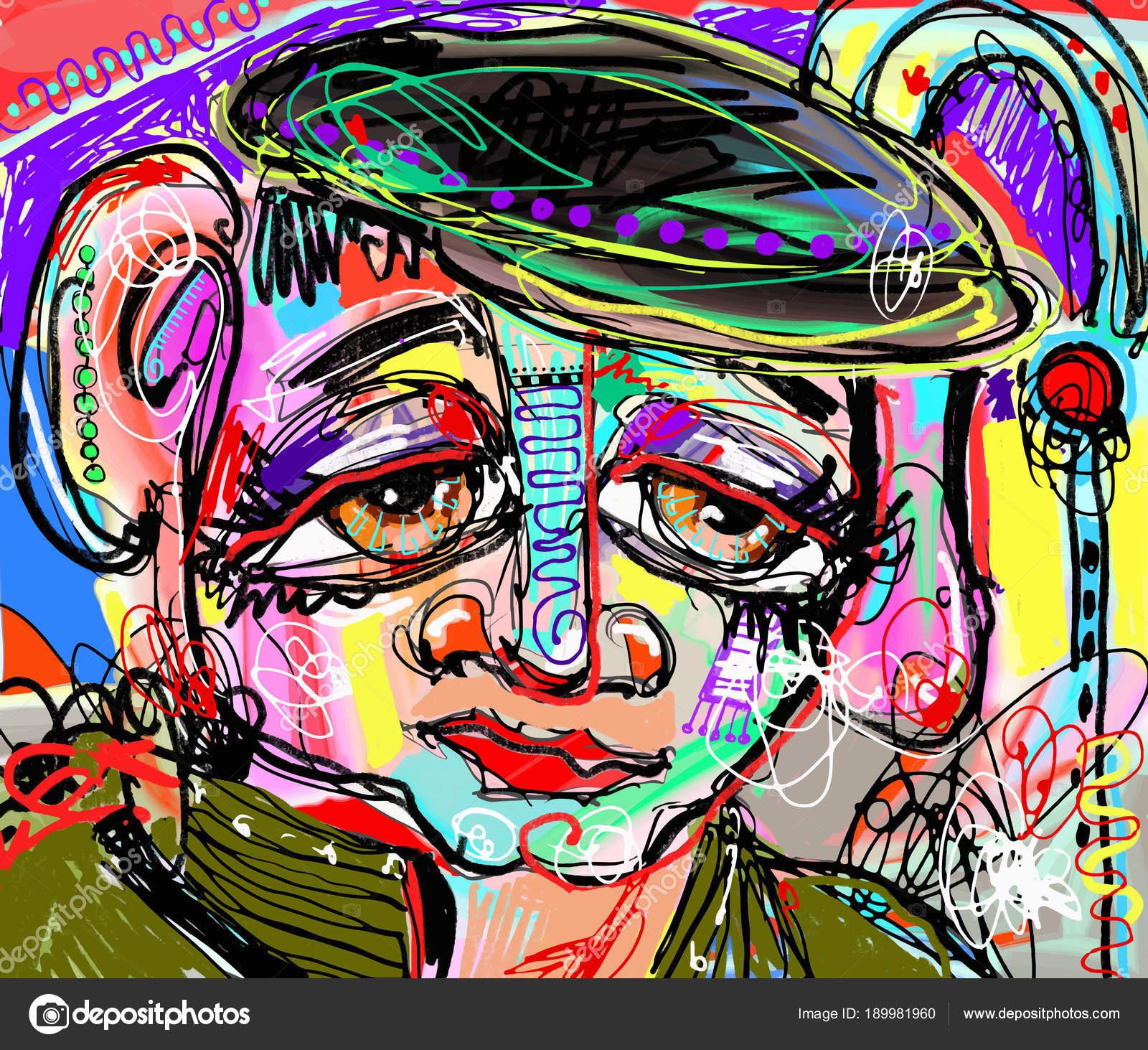 Printable Face Painting Designs For Cheeks Original Abstract Digital Painting Of Human Face Stock Vector C Karakotsya 189981960