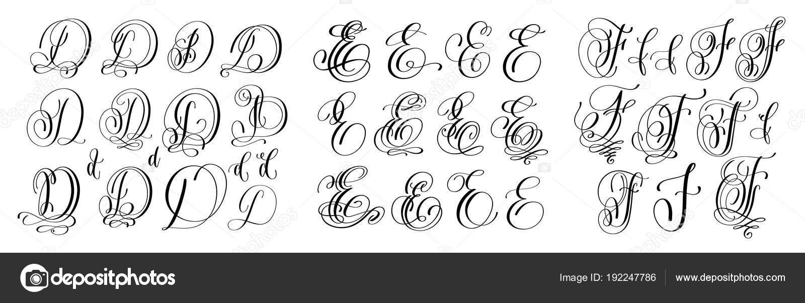 kalligraphiebuchstaben gesetzt d e und f