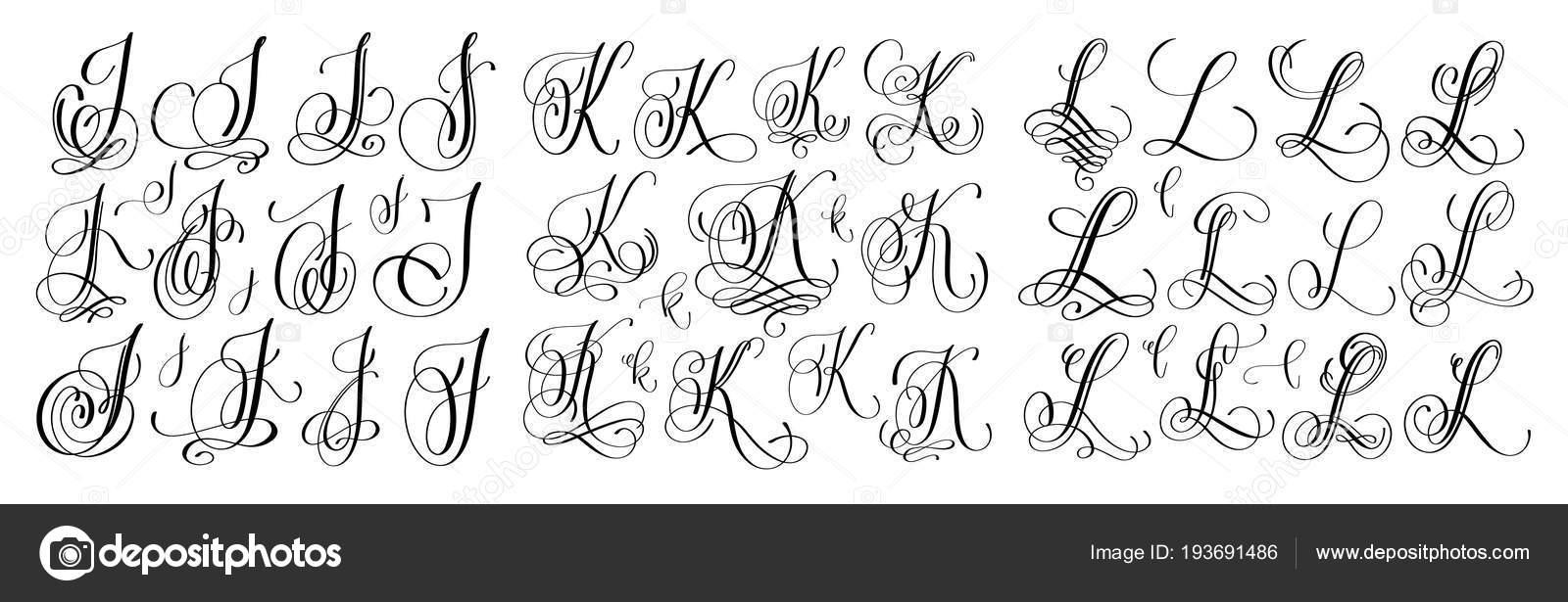 набор букв каллиграфии J K и L скрипт шрифта