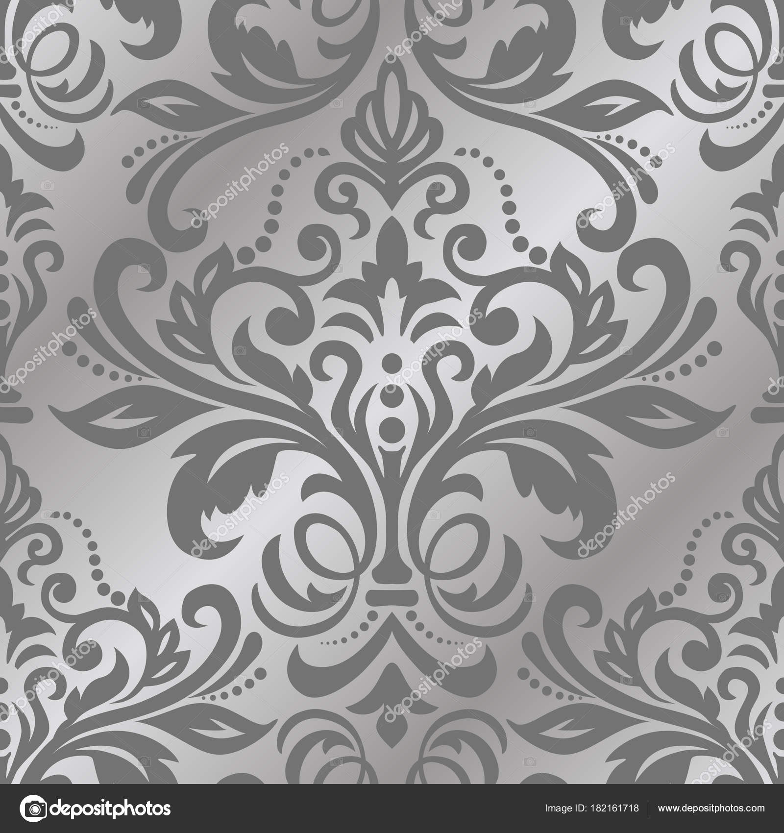 Seamless Background Of Silver Color In The Style Of Baroque Vec