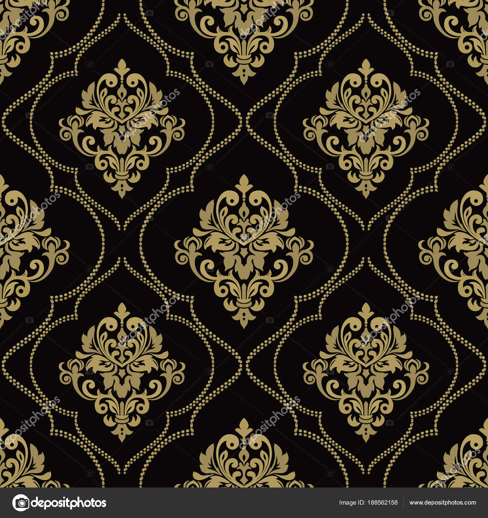 Vector Vintage Floral Seamless Pattern Element Damask Wallpaper