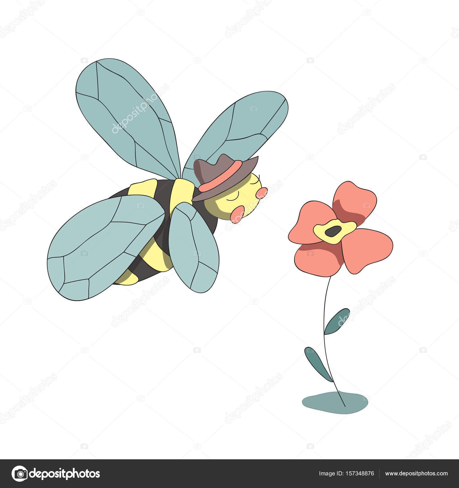 Dessin Anime Mignon Abeille Et Fleur Vector Illustration Isolee
