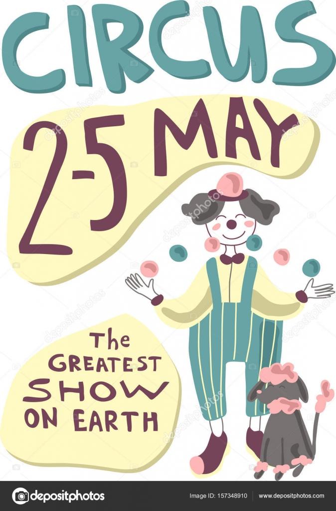 Cartel circo o Carnaval con malabarista de artista y animales ...