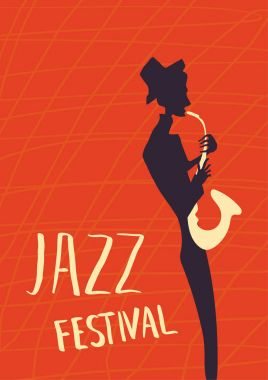 Poster for jazz music festival or concert. The musician plays the saxophone.