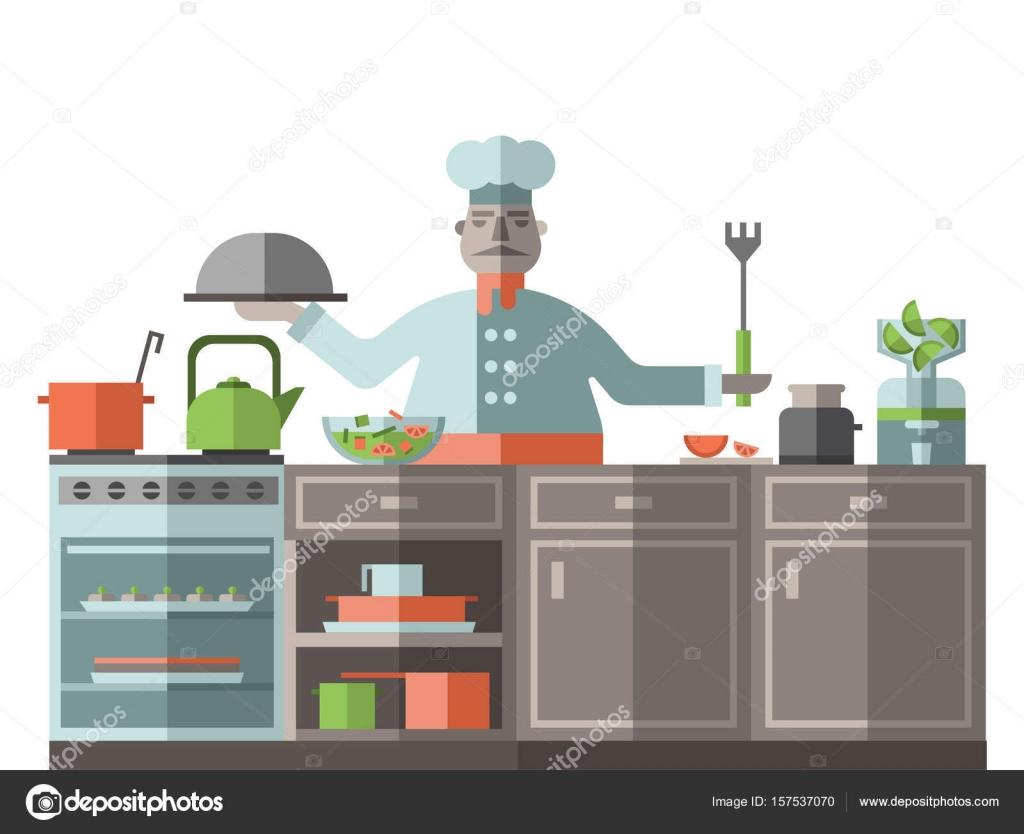 chef está en la cocina del restaurante. Un cocinero está de pie por ...